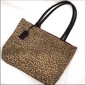 Neiman Marcus faux suede leopard print tote.